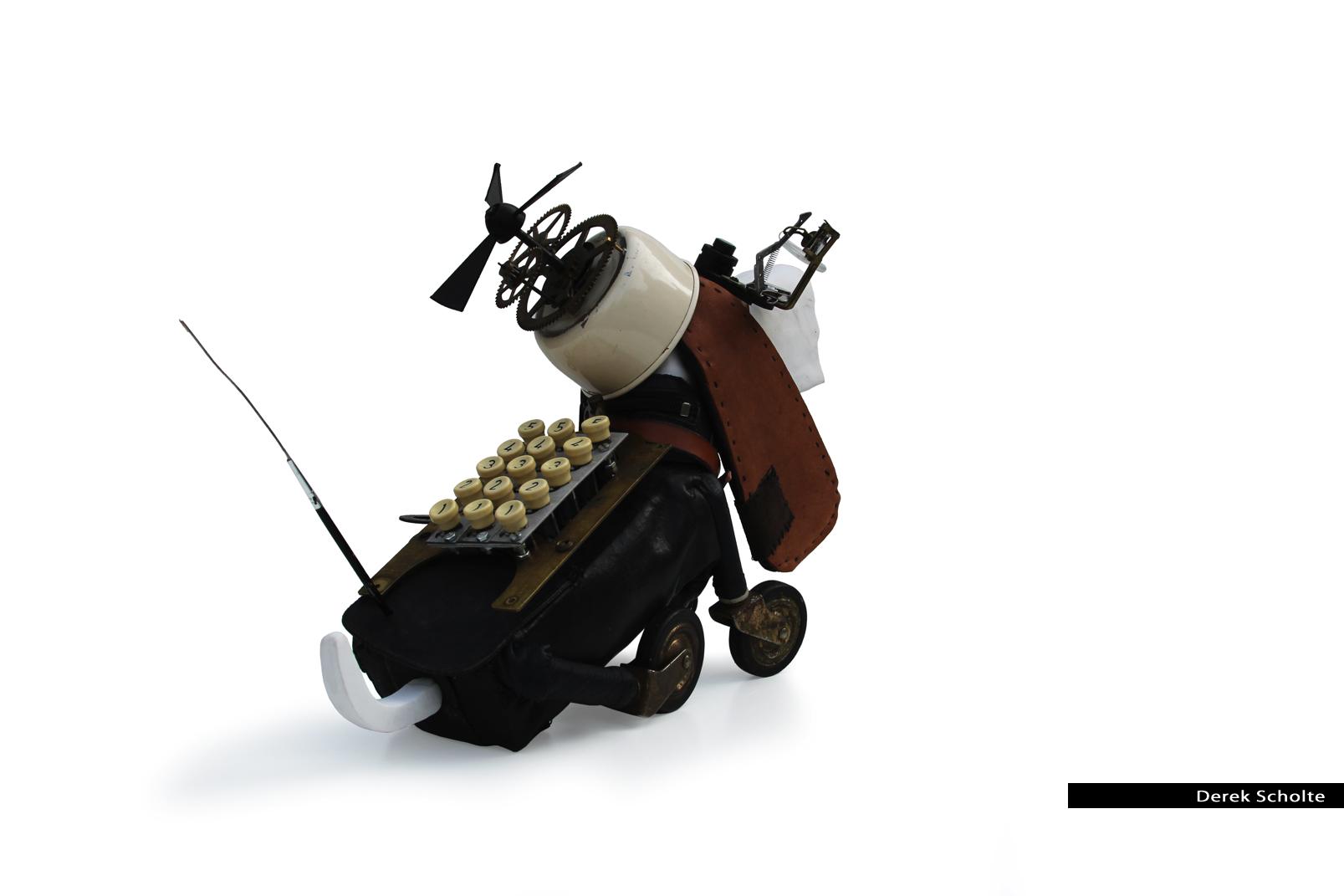Nevil, assemblage art dog sculpture